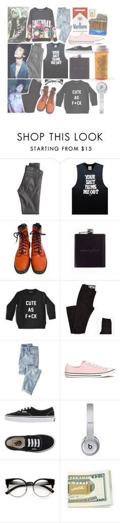 """""""ootd    andy ; jessie ; gabe"""" by c-orpse ❤ liked on Polyvore featuring AG Adriano Goldschmied, UNIF, Dr. Martens, ZENTS, Wrap, Converse, Vans and Beats by Dr. Dre"""