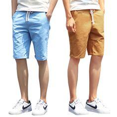 Shorts Men 2016 Summer Fashion Solid Mens Shorts Casual Cotton Slim Bermuda Masculina Beach Shorts Classic Knee Length Shorts #Affiliate