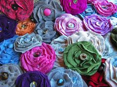 fabric flower pins