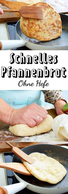 Fast pan bread without yeast - that& how it works- Schnelles Pfannenbrot ohne Hefe – so geht's The ingredients for our fast Bread surely you have at home! The works without yeast and is the ideal spontaneous side dish. Pizza Recipes, Bread Recipes, Healthy Recipes, Brunch Recipes, Snacks Recipes, Fast Recipes, Egg Recipes, Bread Without Yeast, Pan Bread