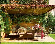 Comedor de exterior bajo pérgola en el jardín_ 00355423