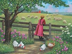 "Can you imagine an image more beautiful than this ^_^? Wool Gathering by John Sloane <3 Amelia is visiting her Grandparents in the country and has just finished collecting the eggs when the sight of the sheep grazing on the slope captures her attention and she finds her self daydreaming and imaging what life would be like to always live in the country. After going back inside and enjoying a delicious country breakfast, she is in for a surprise. Her Grandfather unexpectedly asks her ""How…"