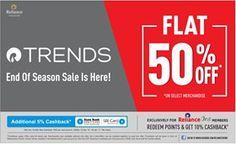 Flat 50% Off On Select Merchandise + 5% Cashback On Sbi Card