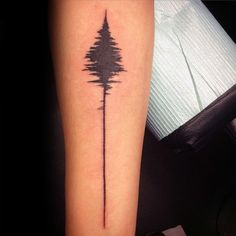 Inner Forearm Soundwave Tree Tattoos For Men