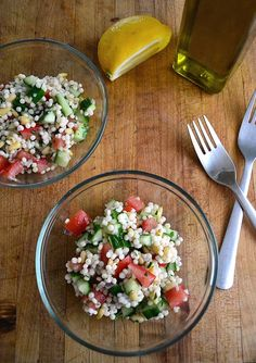 CONFIRMED: Simple Pearl Couscous Salad - So so good! The pearl/Israeli couscous makes it creamy. I've made this 3-4 times in the last couple months. Keeps in fridge for about 5 days. Single batch makes a little more than 1qt. I recently replaced the parsley with cilantro and cut the amount in half and loved it.