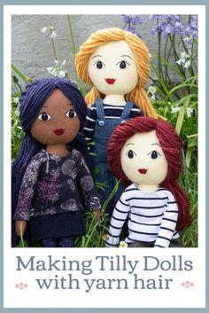 Fabric Doll Pattern, Doll Sewing Patterns, Sewing Dolls, Fabric Dolls, Fox Fabric, Diy Rag Dolls, Yarn Dolls, Crochet Dolls, Hair Yarn
