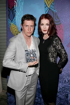 David Gordon Green and Priscilla Presley pose backstage with his award during the Texas Film Awards at Austin Studios on March 6 2014 in Austin Texas Priscilla Presley, Elvis Presley, David Gordon Green, March 6, Film Awards, Austin Texas, Backstage, Studios, Poses