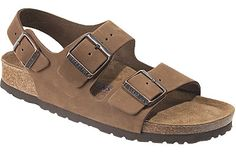 Birkenstock Milano Soft Footbed Cocoa Nubuck If you have sensitive feet and are on the go a lot, this style's for you. An extra layer of foam under the suede liner provides instant comfort and cushion and the heel strap keeps you secure. #birkenstock #birkenstockexpress.com  $130
