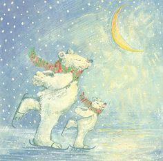 Crescent moon painting - skating polar bears by david cooke Canvas Wall Art, Canvas Prints, Art Prints, Gouache, Polar Bear Paint, Art Simple, Moon Painting, Fabric Wall Art, Bear Art