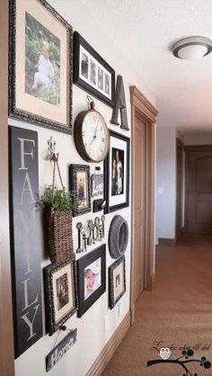 Dedicate a wall in your home to all things family, including photos and other items that will bring it all together. 20 Stunning Gallery Walls That Will Inspire You To Decorate • Page 5 of 10 • BoredBug Style At Home, Decoration Inspiration, Decor Ideas, Decorating Ideas, Decorating A Large Wall In Living Room, Diy Ideas, Hallway Inspiration, Decorating Kitchen, Hallway Decorating