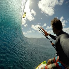 Great day a few months back at Cloudbreak. The morning was a fun surf with only a few guys out but the current was raging with the tide and the wind was quickly turning on. When the wind filled in, I paddled back to the boat and pumped up my kite. Gopro Shop, Water Games, Windsurfing, Summer Photos, Picture Video, Fitness, Sunrise, Around The Worlds, In This Moment