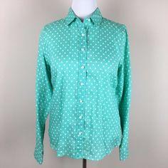 J.Crew Turquoise Blue White Polka Dot Linen Button Down Shirt Womens L 12 14 #JCREW #ButtonDownShirt #Casual