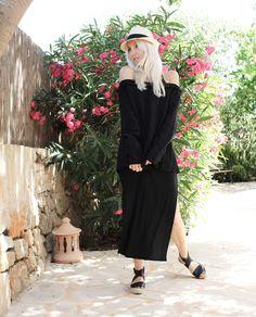 Cecilie Copenhagen, off-shoulder, All Black, Look, Outfit, Summer, Mallorca, Style, Fashion, Blog, stryleTZ