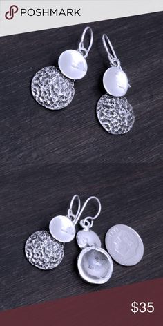 """Rustic Sterling Silver Earrings Stamped """"925"""".  Sterling silver is an alloy of silver containing 92.5% by mass of silver and 7.5% by mass of other mThe sterling silver standard has a minimum millesimal fineness of 925.   All my jewelry is solid sterling silver. I do not plate.   Hand crafted in Taxco, Mexico.  Will ship within 2 days Jewelry Earrings"""