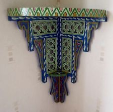 First find your corner, then buy this! Gorgeous. UNIQUE HAND PAINTED MOROCCAN CORNER SHELF ~ BLUE
