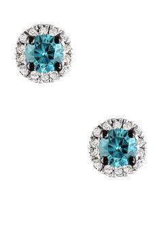 OK, OK, I'LL TAKE'EM!   10K White Gold Blue & White Diamond Post Earrings - 0.50 ctw