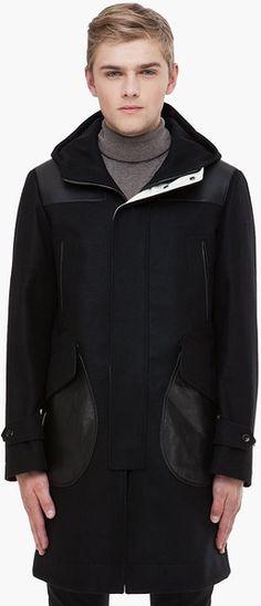 Alexander Mcqueen Leather Patch Coat in Black for Men - Lyst