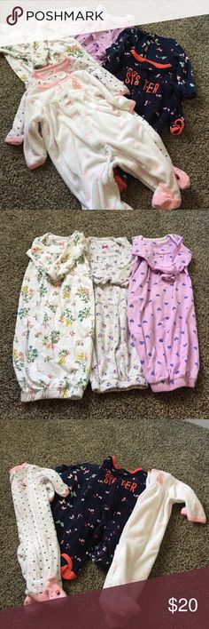 Newborn girl clothes 7 pack Adorable sleepers perfect for your little girl! Only worn a couple times. No stains, smoke free home. Carters brand. Included are 3 nightgowns, 3 outfits that zipper and one with snaps. All are newborn size. Washed in Dreft Carter's Pajamas Pajama Sets