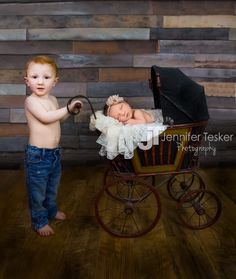Big Brother, Baby Sister, Newborn Sibling Poses, Newborn Girl in Doll stroller, newborn photography