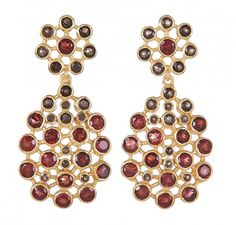 Earrings with semi precious stones- Smoky Topaz and Garnet with Maroon and Brown colour combination.