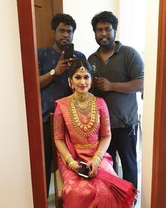 Feeling happy to do the bridal makeup for my beautiful school Frnd . Wishing you a wonderful married life . Kerala Wedding Saree, Indian Wedding Bride, Indian Bridal Sarees, Kerala Bride, Bridal Silk Saree, Indian Bridal Outfits, Indian Bridal Fashion, Indian Bridal Wear, Indian Silk Sarees
