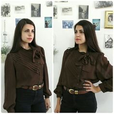 Vintage chocolate brown pussy bow blouse/Vintage by girlsaboutcity