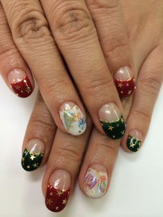 Christmas nails 2013 Calgel, holograms & stickers