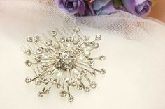 Silver Firework Star Rhinestone Crystals Hair Comb by blinggarden, $19.99
