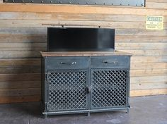 tv lift cabinet vintage industrial console by