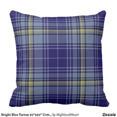 "Bright Blue Tartan 20""x20"" Cotton Throw Pillow"