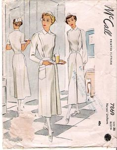 McCall 7869. LOL! just like our instructors would have worn and tried to make us wear. White dress, white cap, white hose and sensible white shoes.