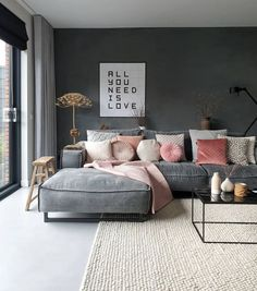 comfy bed bedroom ideas cozy navy and pink bedroom baby girl nursery purple lavender bedroom rose gold room pink office paris themed bedroom bedding ideas bedding ideas cozy pink bedrooms monotone interiors interior inspo interior apartment grey interior Minimalism Interior, Home Living Room, Pink Living Room, Loft Interiors, Apartment Interior, Room Interior, Living Room Grey, Interior Design, Living Room Designs