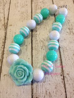 Aqua and White Chunky Bubblegum Necklace by MadiCakesNecklaces, $16.00