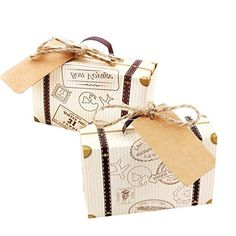 50 pcsTravel Suitcase Boxes with Burlap Twine and Kraft Paper Lable tag for Wedding-Bridal Shower-Baby Shower-Travel Theme Party-Birthday Party Decoration – Travel Candy Boxes – 2 – - Vintage Büro Dekor Baby Shower Brunch, Baby Shower Party Favors, Bridal Shower Decorations, Baby Shower Themes, Birthday Party Decorations, Party Themes, Shower Baby, Party Ideas, Shower Gifts
