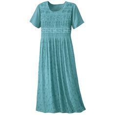 Embroidered Crinkle Rayon Teal Dress - Casual Women's Clothing and Fashion Accessories - Exclusive Styles in Misses and Womens Plus Sizes | ...