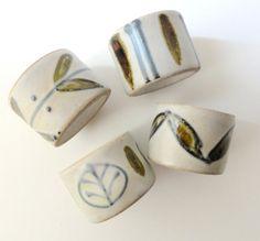 Vintage Napkin Rings Ceramic Stoneware by Chixycoco on Etsy