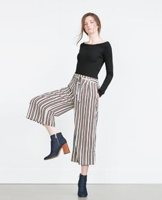 88eb3a3c6 Image 4 of CROPPED FLOWING TROUSERS from Zara Trousers Women, Striped Pants,  Wide Leg