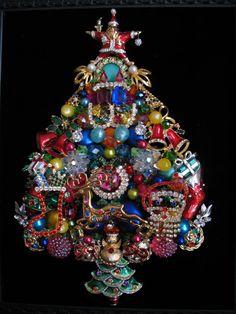 Framed Vintage Jewelry Christmas Tree by SunnyDayVintageAnnex - nice details!! $425 on Etsy
