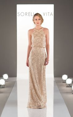 A modern, high neckline compliments a stunning, artful pattern in this Nouveau Sequin bridesmaid dress exclusively designed by Sorella Vita.