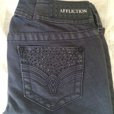 NWT Affliction Black Bling Boot Jeans 26 X 29 NWT Affliction Black Bling Boot Jeans 26 X 29. I'm offering 30% off 2 items or more OR 4/$20 on the red dot items. Also, you can use the red dot items to make my discount of 30% off 2 items or more kick in  Affliction Jeans Boot Cut