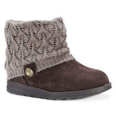 Women's Muk Luks Patti Sweater Ankle Boots - Coffee (Brown) 11
