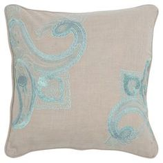 "Cotton pillow with an embroidered paisley motif.    Product: PillowConstruction Material: PolyesterColor: Khaki and blueFeatures:  Insert includedZippered closure Dimensions: 18"" x 18""Cleaning and Care: Dry clean only"