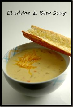 Cheddar and Beer Soup~i never had beer cheese soup until i moved to SD. Wisconsin Cheese Soups, Beer Cheese Soups, Beer Recipes, Soup Recipes, Healthy Recipes, Recipies, Yummy Recipes, Yummy Food, Chili Recipes