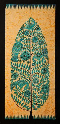 Bali (Indonesia) - Batik dell'Albero della vita (scan from diapo)