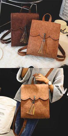8148645d1874 It is so cute backpack! Retro Simple PU Tassels Women College Backpack !   backpack