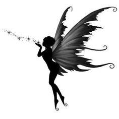 A Fairy's Kiss Tattoo [] - $12.00 : Fairy Silhouette Art by Julie Fain, Fairy Art, Fantasy, Mermaid, Dragon, Faery, Unicorn Art Prints for Sale, dark gothic fairy art