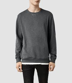 Mens Acar Crew Sweat (Shadow) | ALLSAINTS.com ALL SAINTS Ask for Kristiany to shop & get styled at the Lincoln Road, Miami Beach location.
