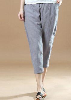 new gray brief linen pants loose elastic waist crop pants Cuffed Pants, Cropped Pants, Casual Pants, Cotton Pants, Linen Pants, Cotton Linen, Custom Made, Elastic Waist, Plus Size