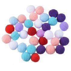 Hoomall 100PCs Mixed Color Pom poms Fur Balls DIY Crafts Pompom For Kids Wedding Home Decoration Round 1.5cm