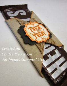 Tuesday, September 24, 2013 Just Sponge It: Stampin' Up! Envelope Punch Board Candy Bar Wrapper - Tags 4 You, Burlap Ribbon, Decorative Label Punch